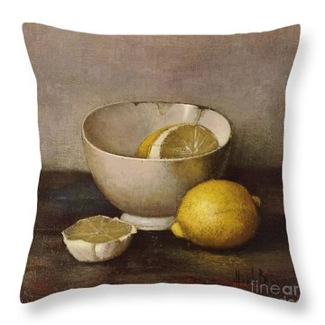 Henk Bos Fruits Still Life Lemons With White Bowl Throw Pillow by Pierpont Bay Archives