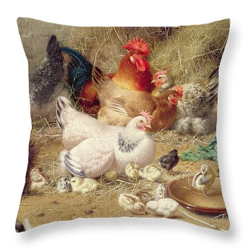 Hens Roosting With Their Chickens Throw Pillow by Eugene Remy Maes
