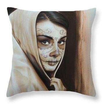 Audrey Hepburn - ' Hepburn De Los Muertos ' Throw Pillow by Christian Chapman Art