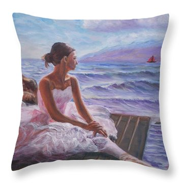 Her Dream Throw Pillow by Elena Sokolova