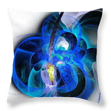 Her Heart Is A Guitar Blue Throw Pillow by Andee Design