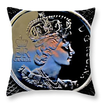 Her Majesty Elisabeth The Second  Coin Throw Pillow by Danielle  Parent