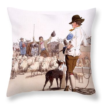 Herdsmen Of Sheep And Cattle, From The Throw Pillow by William Henry Pyne