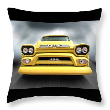 Here Comes The Sun - Gmc 100 Pickup 1958 Throw Pillow by Gill Billington