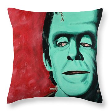 Herman Munster - The Munsters Throw Pillow by Bob Baker