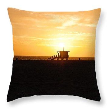Hermosa Beach Sunset Throw Pillow by Scott Pellegrin