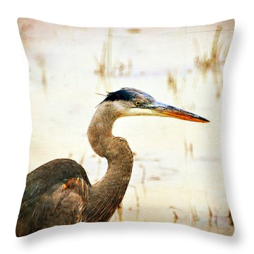 Heron Throw Pillow by Marty Koch
