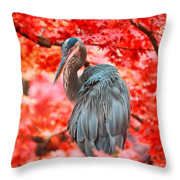 Heron Wonderland Throw Pillow by Douglas Barnard