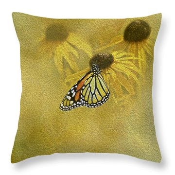 Hey Susan There Is That Butterfly Again Throw Pillow by Diane Schuster