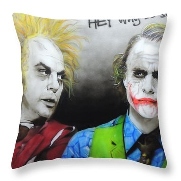 Health Ledger - ' Hey Why So Serious? ' Throw Pillow by Christian Chapman Art
