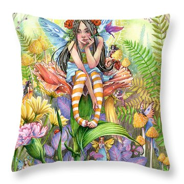 Hide And Seek Throw Pillow by Sara Burrier