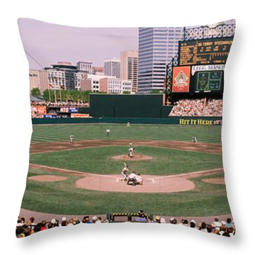 High Angle View Of A Baseball Field Throw Pillow by Panoramic Images