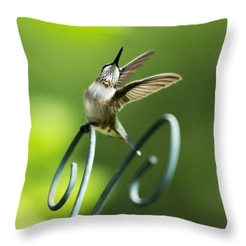 High Spirit Hummingbird Throw Pillow by Christina Rollo