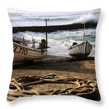 High Tide In Sennen Cove Cornwall Throw Pillow by Terri Waters