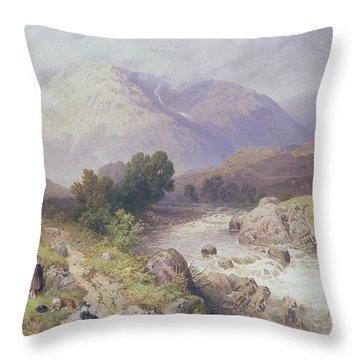 Highland Scene Near Dalmally Argyll Throw Pillow by Myles Birket Foster