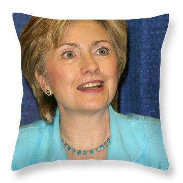 Hillary Clinton Throw Pillow by Nina Prommer