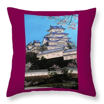 Himeji Castle Throw Pillow by D L Gerring