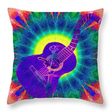 Hippie Guitar Throw Pillow by Bill Cannon