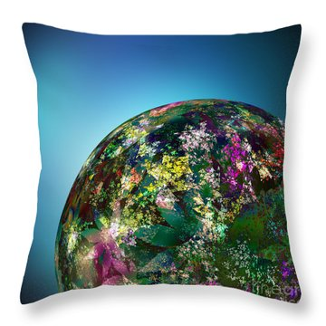 Hippies' Planet 2 Throw Pillow by Klara Acel