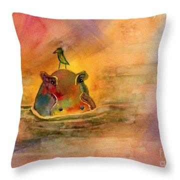 Hippo Birdie Throw Pillow by Amy Kirkpatrick