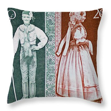 His And Hers Traditional Costumes Throw Pillow by Andy Prendy