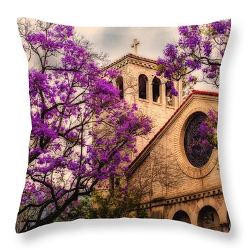 Historic Sierra Madre Congregational Church Among The Purple Jacaranda Trees  Throw Pillow by Jerry Cowart