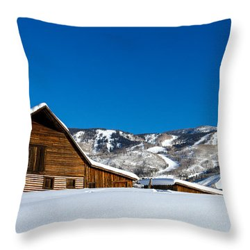 Historic Steamboat Spring Barn Throw Pillow by Teri Virbickis