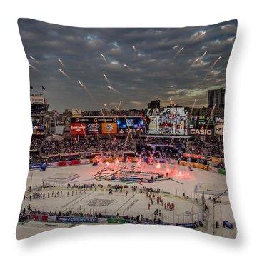 Hockey At Yankee Stadium Throw Pillow by David Rucker
