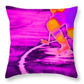 Hockey Freeze Throw Pillow by Karol Livote