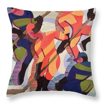Hockey Players Throw Pillow by Ernst Ludwig Kirchner