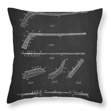Hockey Stick Patent Drawing From 1934 Throw Pillow by Aged Pixel