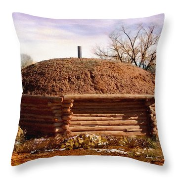 Hogan Monument Valley Winter Painting Throw Pillow by Bob and Nadine Johnston