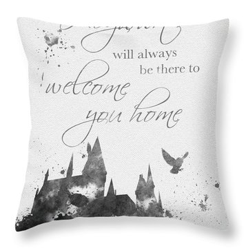 Hogwarts Quote Black And White Throw Pillow by Rebecca Jenkins
