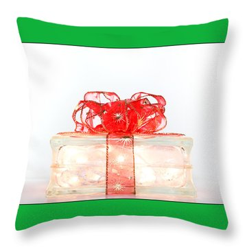 Holiday Glass Gift Box With Red Bow Throw Pillow by Jo Ann Tomaselli