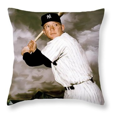 American Fabric   Mickey Mantle Throw Pillow by Iconic Images Art Gallery David Pucciarelli