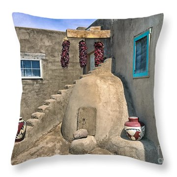 Home On Taos Pueblo Throw Pillow by Sandra Bronstein