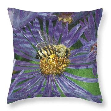 Honeybee On Purple Aster Throw Pillow by Lucinda V VanVleck