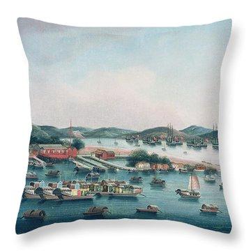 Hong Kong Harbor Throw Pillow by Cantonese School