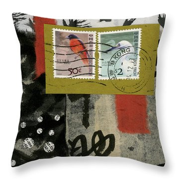 Hong Kong Postage Collage Throw Pillow by Carol Leigh