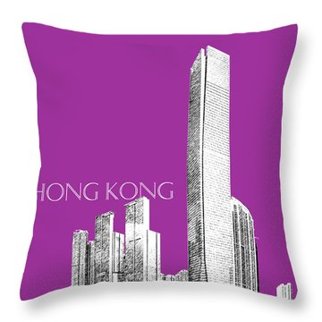 Hong Kong Skyline 2 - Plum Throw Pillow by DB Artist