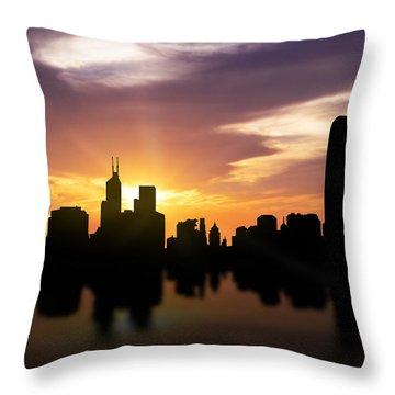 Hong Kong Sunset Skyline  Throw Pillow by Aged Pixel