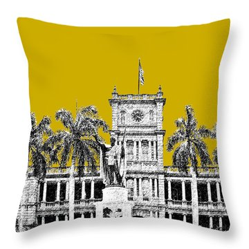 Honolulu Skyline King Kamehameha - Gold Throw Pillow by DB Artist