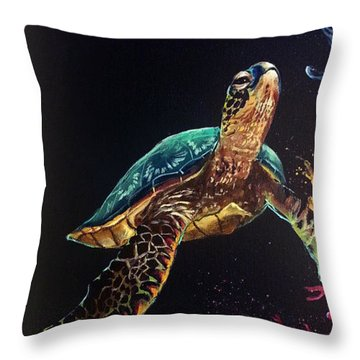 Honu's Reef Throw Pillow by Marco Antonio Aguilar