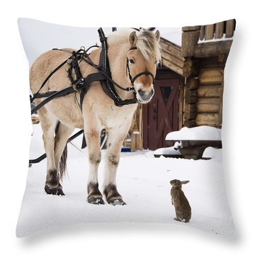 Horse And Rabbits Throw Pillow by Gry Thunes