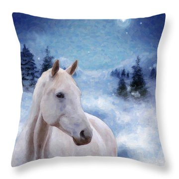 Horse In Winter Throw Pillow by Kenny Francis