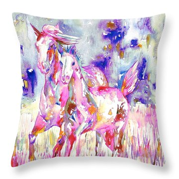 Horse Painting.16 Throw Pillow by Fabrizio Cassetta