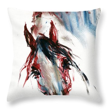 Horse Portrait Throw Pillow by Angel  Tarantella