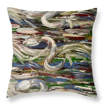 Horse Race Throw Pillow by Patrick J Murphy