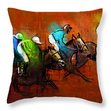 Horses Racing 01 Throw Pillow by Miki De Goodaboom