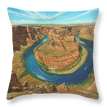 Horseshoe Bend Colorado River Arizona Throw Pillow by Richard Harpum